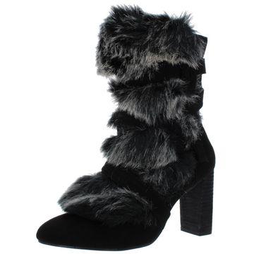 Charles by Charles David Womens Alberta Microfiber Faux Fur Dress Boots