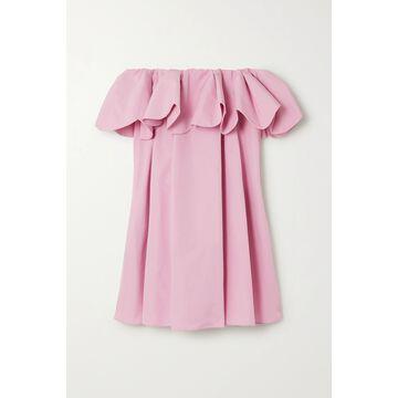 Valentino - Off-the-shoulder Scalloped Cotton-blend Poplin Mini Dress - Pink