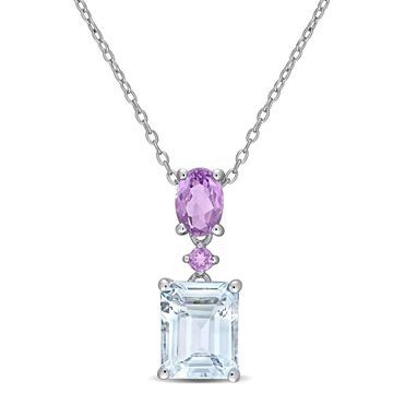 Miadora Sterling Silver Ice Aquamarine and Amethyst Tiered Drop Necklace
