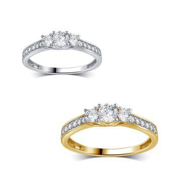 Divina 10K Gold 1/2ct TDW Diamond 3-Stone Anniversary Ring