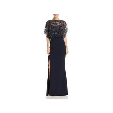 Aidan Mattox Womens Evening Dress Embellished Cold-Shoulder