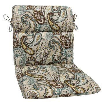 Outdoor Round Edge Chair Cushion - Tamara Paisley - Pillow Perfect