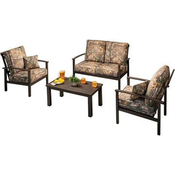 Hanover Cedar Ranch 5-Piece Metal Frame Patio Conversation Set with Hanover Cushion(s) Included Polyester | CDRNCH4PC-CMO