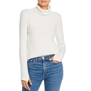 Enza Costa Ribbed Knit Turtleneck with Thumbholes
