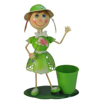 """17"""" Lime Green Girl With Flower Spring Outdoor Planter By Northlight 