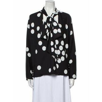 Polka Dot Print Mock Neck Button-Up Top Black