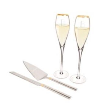 Cathy's Concepts Personalized Gold Champagne Flutes Cake Serving Set