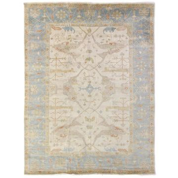Exquisite Rugs Turkish Oushak Blue / Ivory New Zealand Wool Rug - 8' x 10'