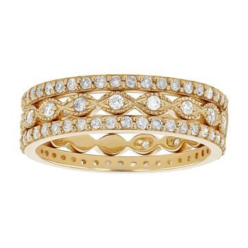 10K Yellow Gold 9/10 ct. TDW Diamonds Women's Stacking Band Rings by Beverly Hills Charm