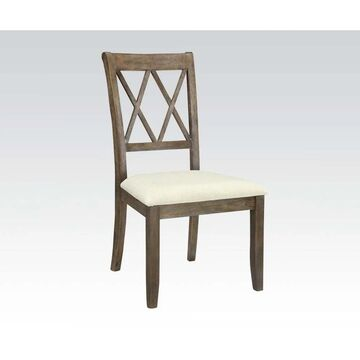 Acme Furniture Claudia Dining Chair (Set-2), Beige Linen and Salvage Brown (Side Chair, Beige Linen & Salvage Brown)