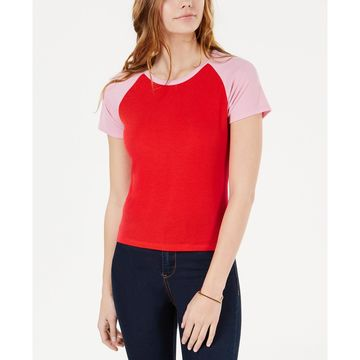 Juniors' Colorblocked Rib-Knit Baseball T-Shirt