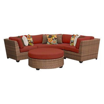 TK Classics Laguna 4-Piece Outdoor Wicker Sofa Set, Terracotta