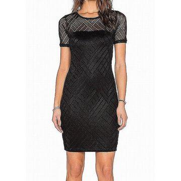 Three Dots Womens Dress Night Black Size XL Sheath Mesh Illusion