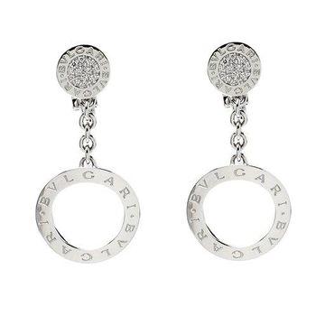 Bvlgari Diamond 18k White Gold Drop Earrings
