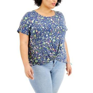 Style & Co Plus Size Printed Twist-Hem Top, Created for Macy's