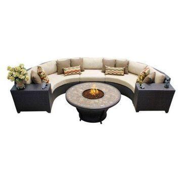TK Classic Barbados 6-Piece Outdoor Wicker Sofa Set, Wheat