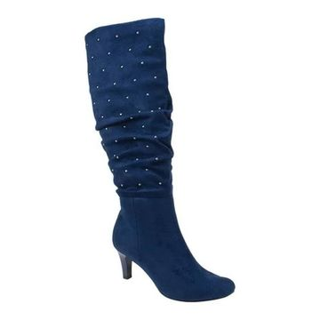 Rialto Women's Canoe Knee High Studded Boot Midnight Suedette Fabric