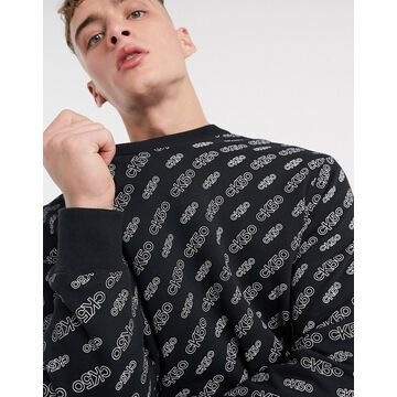 Calvin Klein Jeans 50 Limited Edition all over print relaxed sweatshirt in black