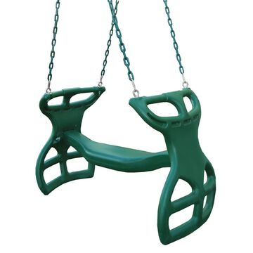 Gorilla Playsets Dual Ride Glider Swing in Green with Coated Chains - Multi-Child Swing - 38