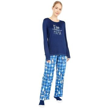 HUE Dog Mama Knit PJ Set with Socks Women's Pajama Sets