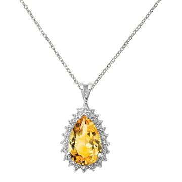 Sterling Silver Rhodium-plated Citrine and Diamond Pear Pendant with 18-inch Cable Chain by Versil (Yellow - 18 Inch - Citrine - White)