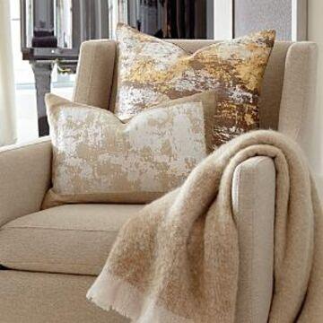 Michael Aram Distressed Metallic Lace Decorative Pillow, 14 x 20