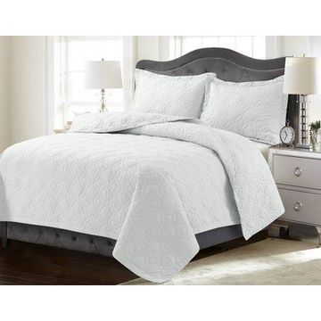 Tribeca Living Lyon Solid Oversized Quilt Set Queen White