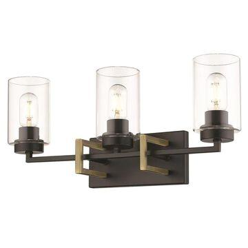 Golden Lighting Tribeca 3-Light Black Modern/Contemporary Vanity Light   6070-BA3 BLK-AB