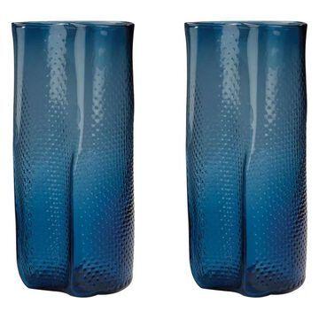 Lazy Susan Glass Vases, Navy Blue Etched, Set Of 2
