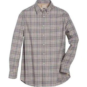 Joseph Abboud Men's Gray & Brown Plaid Classic Fit Sport Shirt - Size: XXL