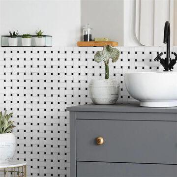 "SomerTile Metro Basketweave Matte White with Black Dot 11.75"" x 11.75"" Porcelain Mosaic Tile"