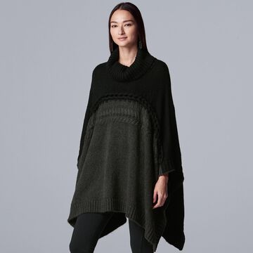 Women's Simply Vera Vera Wang Mixed Cable Poncho Sweater