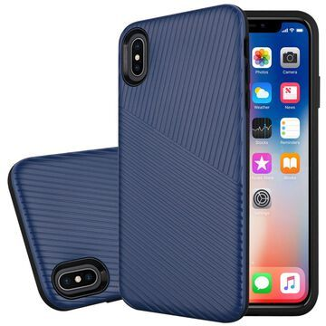 Insten Embossed Lines Hard Snap-in Case Cover For Apple iPhone XS Max, Dark Blue