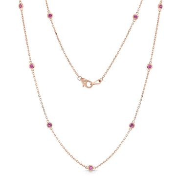Noray Designs 14k Rose Gold 1ct TGW Pink Sapphire by the Yard 10 Station Necklace