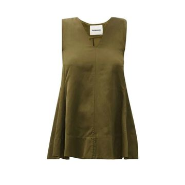 Jil Sander - Asymmetric Fluted V-neck Top - Womens - Dark Green