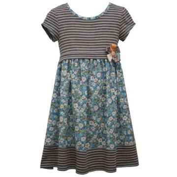 Bonnie Jean Little Girls Short Sleeved Striped Knit to Printed Crepe Baby Doll with Banded Hem and Flower Trim