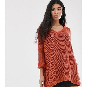 Noisy May oversized v neck sweater-Brown