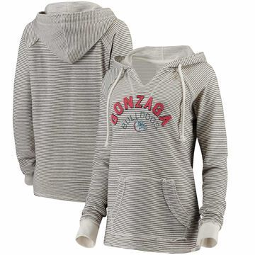 Gonzaga Bulldogs Blue 84 Women's Striped French Terry V-Neck Hoodie - Cream