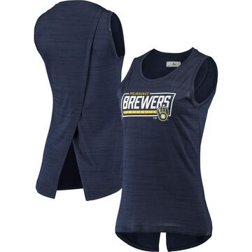 Levelwear Milwaukee Brewers Women's Heathered Navy Freedom Boxed-In Tank Top