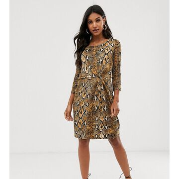 Vila snake print twist front dress