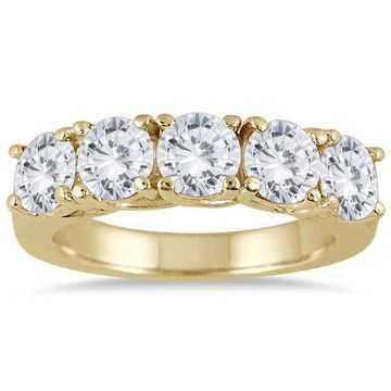 Marquee Jewels 14K Yellow Gold 2 1/2 CTW Prong Set 5-stone Diamond Band