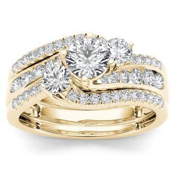 De Couer 14k Yellow Gold 1 1/4ct TDW Diamond Bypass Bridal Ring Set