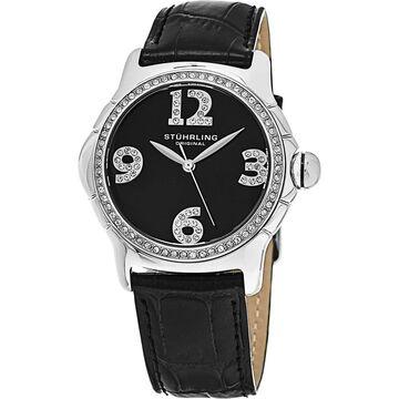 Stuhrling Original Women's Chic Quartz Swarovski Element Crystal Watch with Black Leather Strap (Stuhrling Original Women's Watch)