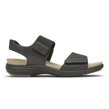 Aravon Womens Beaumont 2-Strap Sandal - Size 9 D Black