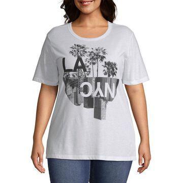 Mighty Fine-Juniors Plus Womens Crew Neck Short Sleeve Graphic T-Shirt