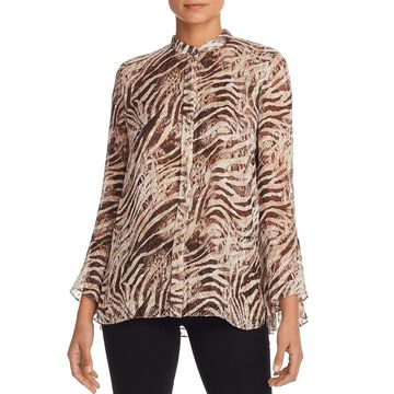 Elie Tahari Womens Chava Button-Down Top Animal Print Textured - Cocoon Tiger