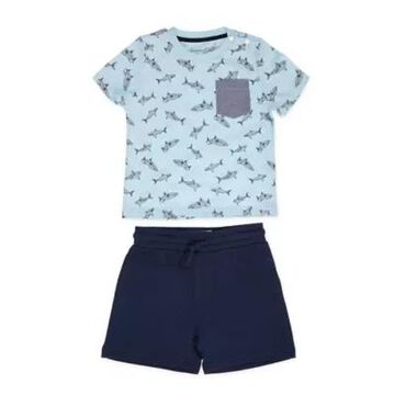 Sovereign Code Size 3M 2-Piece Alburn Tee and Short Set in Blue/Navy