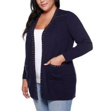 Belldini Black Label Plus Size Embellished Long Sleeve Pocketed Cardigan