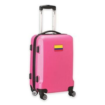 Denco Mojo Colombia Flag 21-Inch Hardside Spinner Carry-On Luggage in Pink