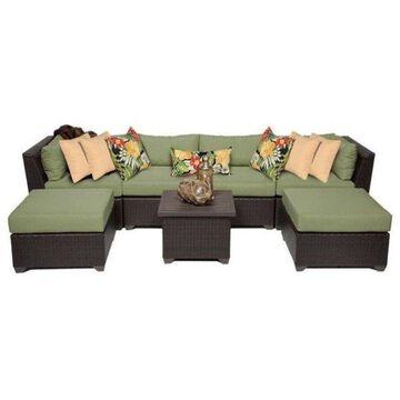 TK Classic Barbados 7-Piece Outdoor Wicker Sofa Set, Cilantro
